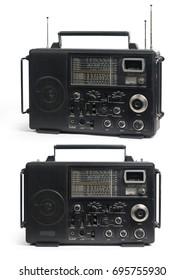 Set of Old Vintage Radios isolated on white background