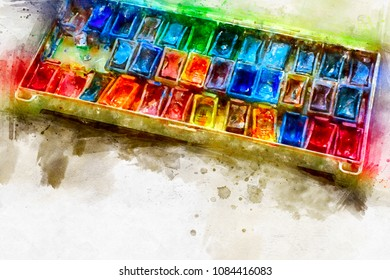 A set of old Watercolor paints painted in watercolor. A bright splash of flowers isolated on white.