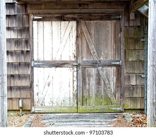 A set of old weathered barn doors