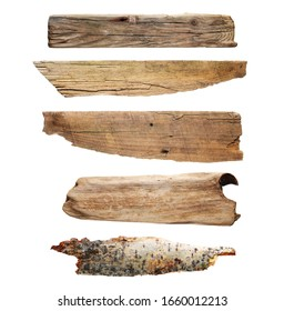 Set old wooden board isolated on white background, clipping path