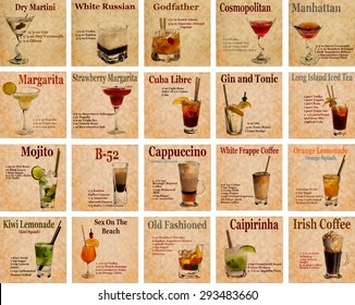 Set of Old,vintage or grunge  Recipe Notebook with different  cocktails on the page.Room for text