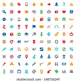 Set of one hundred multicolored icons for website interface, business designs, finance, security and leisure. Raster version. Vector version is also available.