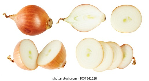 Set of onions. Useful vegetables. Additive. Isolated on white background.