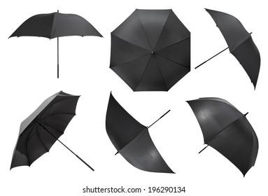 set of open black large umbrellas isolated on white background