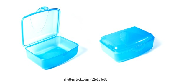 Set Of Open And Closed Plastic Lunchbox Isolated On White