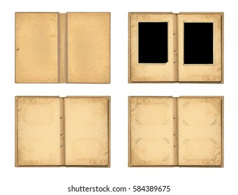 Set the open  old photoalbum with ribbon for photos on the isolated white background