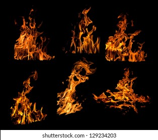 set of orange flames isolated on black background