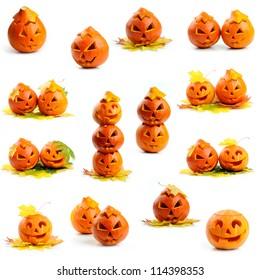 Set of orange halloween pumpkins Jack O Lanterns isolated on white background