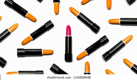 Set of orange lipsticks with red in the center isolated on white color background. Colorful Tones, Lipstick tints palette, Makeup and Beauty. Beautiful Make-up concept. lipgloss.