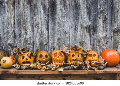 set of orange pumpkins with a smile and a grin for your design for the holiday Halloween.
