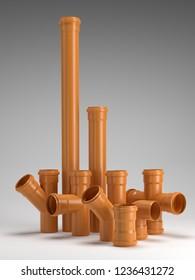 Set of orange PVC sewage pipe fittings