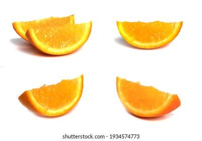 set of orange slices isolated on white