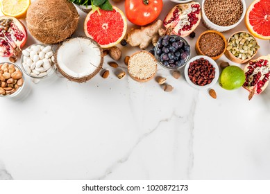 Set of organic healthy diet food, superfoods - vegetables. white background copy space. top view