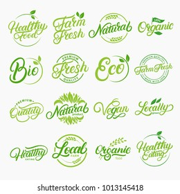 Set of organic, local, fresh, natural, vegan, healthy handwritten lettering logos, labels, emblems. Collection for food market, organic product, healthy life, farmers market.