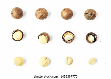 Set of Organic Macadamia nut shelled and unshelled on white background, Top view layout