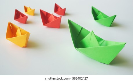 Set Origami Boats On White Background Stock Photo Edit Now