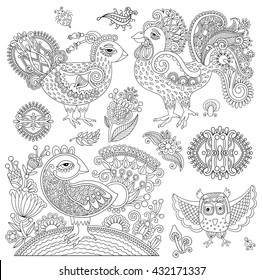 set of original black and white line art rooster drawing, page of coloring book bird joy to older children and adult colorists, who like line art and creation, raster version illustration