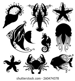 Set of Ornate Sea Animals. Stencils Isolated on White Background