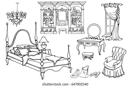 Set outline for an elegant bedroom furniture in an old style with wardrobe, hand painted doodle on a white background Black