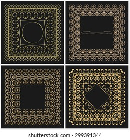Set of outline frame for design monogram. Elements of the ornament of gold color on a black background with space for logo. Borders in modern style. Rasterized version.