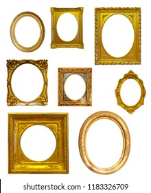 Set of oval picture frames. Isolated on white background, may be used for photo or picture