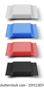 Set of packings of different color for a biscuit. 3d illustration.