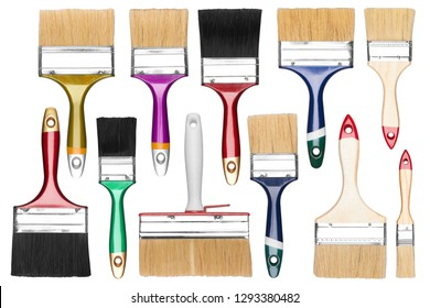Set of Paint Brush, isolated on a white background