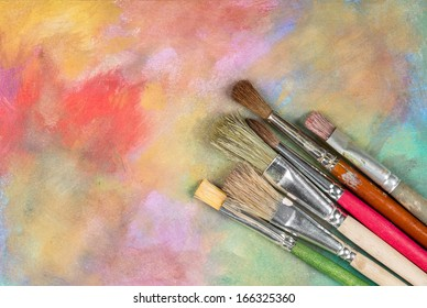 A set of paint brushes