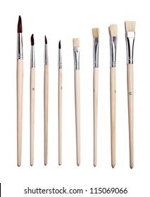 Set of paint brushes isolated on the white background