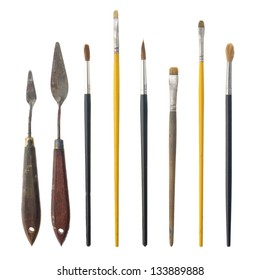 Set of paint brushes isolated on the white background.