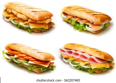 Set of pannini sandwiches: salmon, ham, chicken, salami