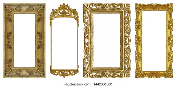 Set of panoramic golden frame for paintings, mirrors or photo isolated on white background