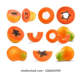 set of papaya isolated on white background