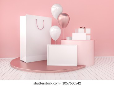 Set of paper bag, frame for certificate, card or envelope mock up in elegant pink and rose gold color style with balloons. Festive design for branding or corporate identity. 3d rendering illustration.