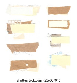 Set of paper labels. Paper collage. Set of realistic pieces ot torn brown paper.