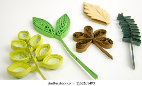 Set Paper Leaves Quilled Paper Crafts Stock Photo Edit Now