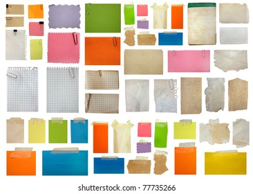 set of paper notes isolated on white background. big collection