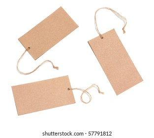 Set Of Paper Tags Isolated On White Background