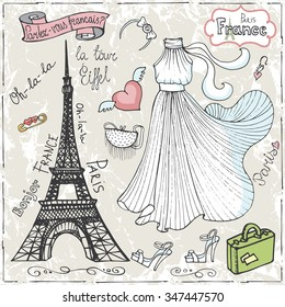 Set of Paris Eiffel tower,lettering,dress,fashion elements.Hand drawn doodle sketchy.French words good travell,Speak French,hello,Eiffel tower.Vintage cute decoration kit