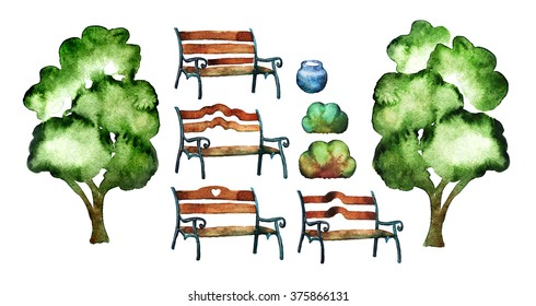 Set of park bench, trees, bushes and urn. Watercolor painting.
