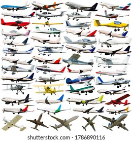 Set of passenger airliners, light aircraft, gliders and gyroplanes isolated on white background