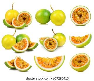Set Passion fruit isolated on the white background.