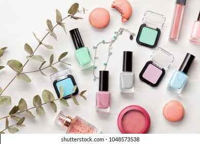 Set of pastel colors makeup for spring or summer season