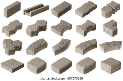 set of paving stones of concrete isolated on white