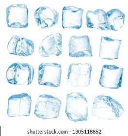 Set of peaces of pure blue natural crushed ice/ice cubes. Clipping path for each cube included.