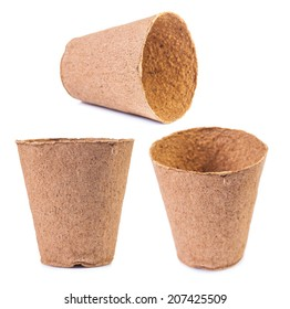 set of peat pots in defferent foreshortenings isolated