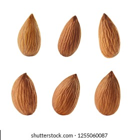 A set of peeled almonds. Cut out. Close-up.