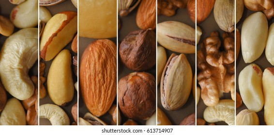 Set of peeled nuts, collage of vertical photos.