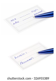 Set of a pen and badge  isolated on a white background