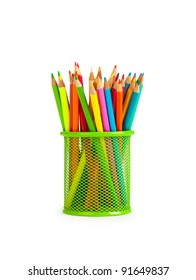 Set of pencils on white